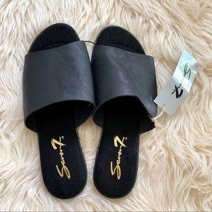 Seven7 Black Malibu Slides